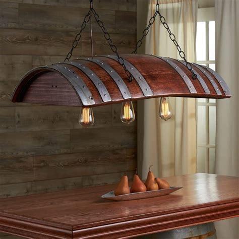 oak wine barrel chandelier id lights