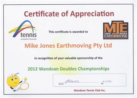 certificate of appreciation for sponsorship template mike jones earthmoving community
