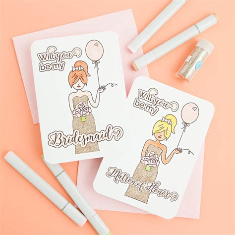 be my free free printable will you be my bridesmaid coloring cards
