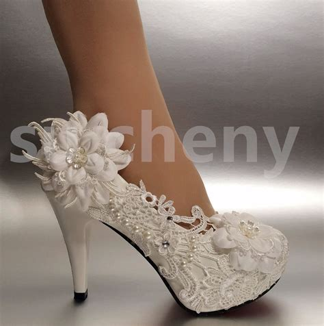 Wedding Shoes For The by 2 3 4 White Ivory Heels Lace Ribbon Pearl Wedding