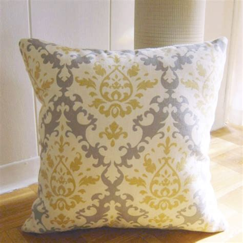 yellow pattern throw pillows throw pillow in damask pattern yellow grey by