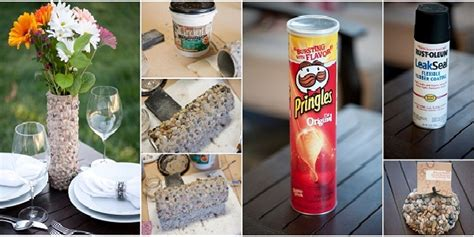Make A L Out Of A Vase by Diy Pebbled Flower Vase Made Using A Can Of Pringles