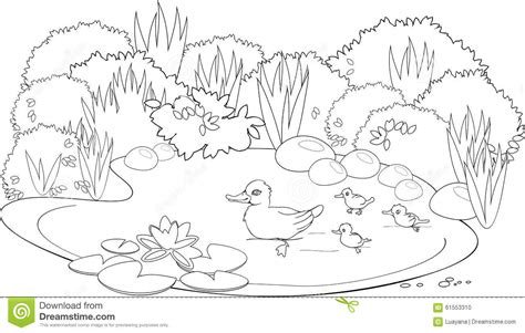 Coloring Duck Pond Stock Vector Image 61553310
