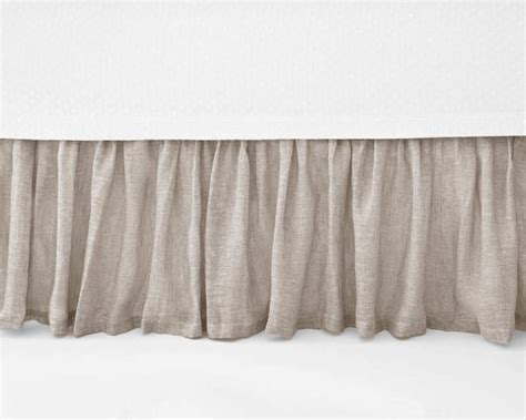 linen bed skirts pine cone hill savannah linen gauze dove grey bed skirt
