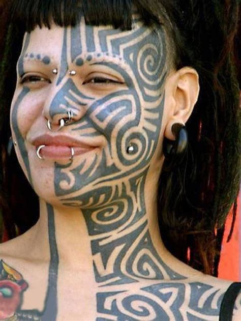tribal face blown tattoo decorated skin pinterest