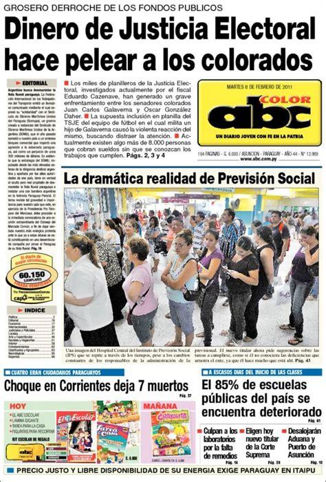 abc color paraguay portada peri 243 dico abc color paraguay todos los