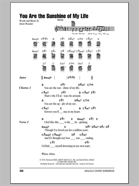 strum pattern can t you see you are the sunshine of my life sheet music by stevie