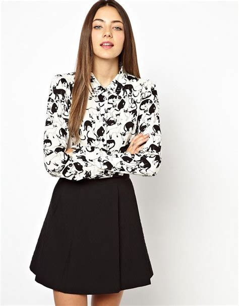 Blouse Cat Story monki monki cat print blouse