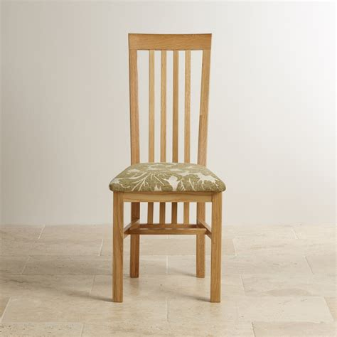 slat back solid oak fabric dining chair