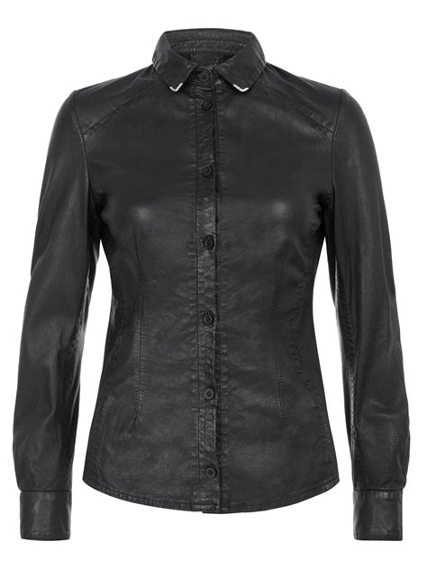 7 Luxe Leather Shirts by Azana Leather Collar Tip Shirt In Black