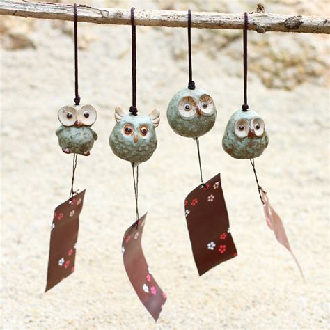 zakka home decor ceramic artificial owl home decoration aibei zakka japanese style ceramic owl wind chime small