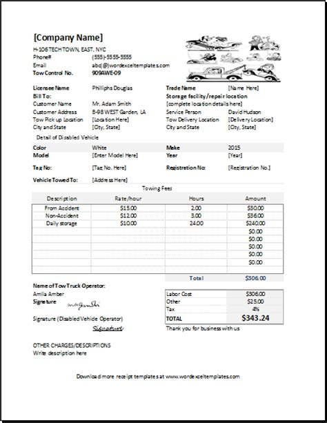 Towing Service Receipt Template For Excel Word Excel Templates Printable Tow Truck Receipt Template