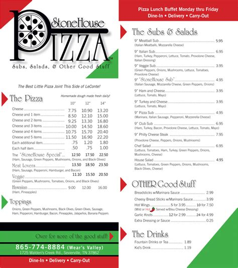 stone house pizza stone house pizza menu
