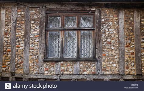 Tudor Style Windows Decorating Wood Framed Tudor Style House Flint Walls Lead Windows Stock Photo Royalty Free Image