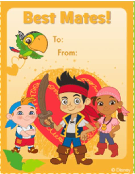 jake and the neverland valentines free disney s day cards printables activities