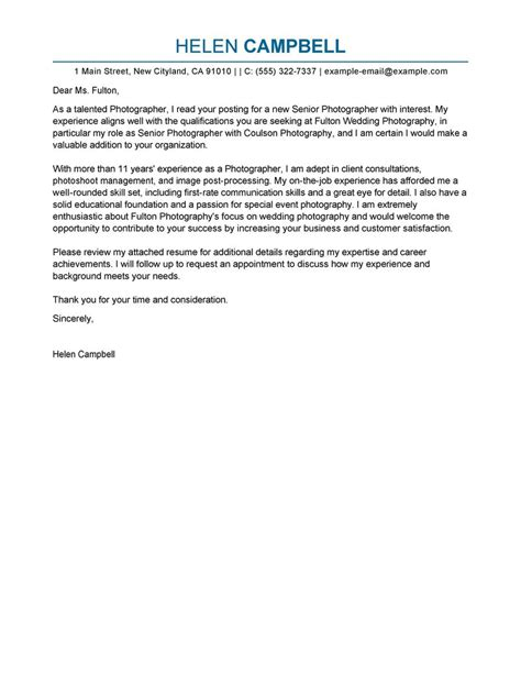 Senior Photographer Cover Letter Examples   Media