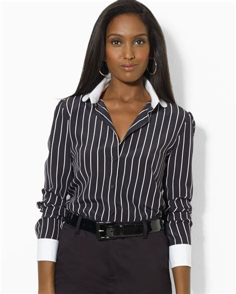 Pinstriped Blouse lyst ralph pinstripe silk blouse in white
