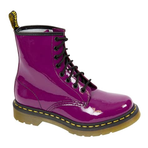 doc marten boots dr martens classic 8 eyelet purple patent boot