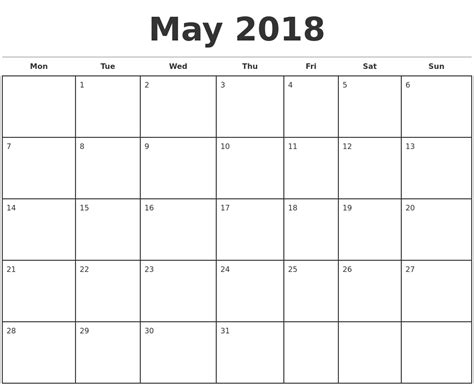 printable monthly calendar template may 2018 monthly calendar template