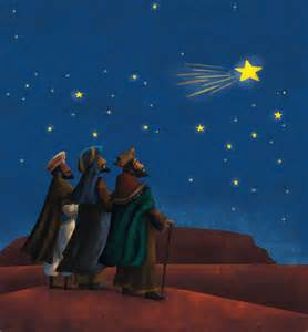 Silhouette three wise men following star car tuning