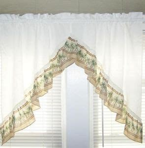 palm trees tropical kitchen curtains swag valance pair