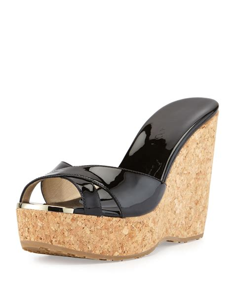 Mossimo Parry Patent Cork Slide Wedges by Jimmy Choo Perfume Patent Leather Crisscross Wedge In