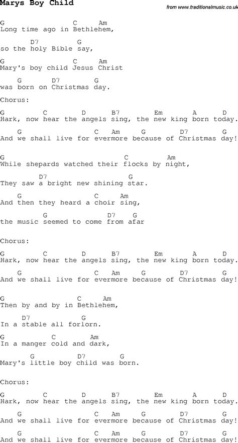 child song carol song lyrics with chords for marys boy child
