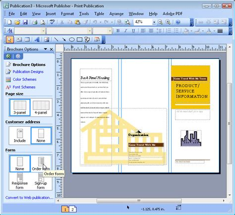 use microsoft publisher to print brochure computer