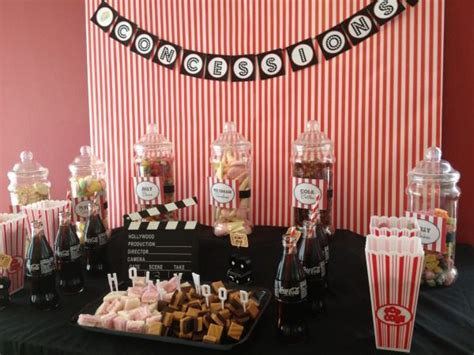 movie themed curtains movie themed candy buffet theme idea lights camera