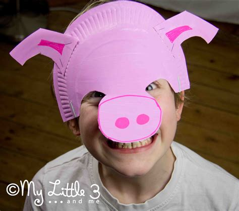 make a paper plate pig mask my 3 and me