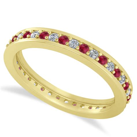 Ruby 4 59 Ct ruby eternity wedding band 14k yellow gold 0