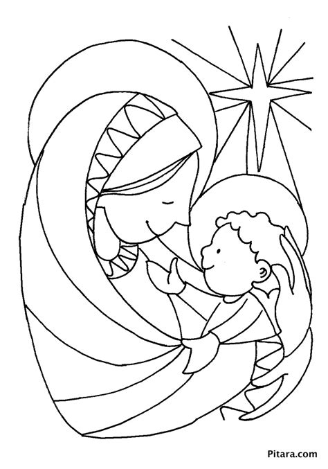coloring pages jesus baby mary baby jesus coloring page pitara kids network