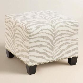grey and white ottoman cowhide zebra pattern brown and white ottoman