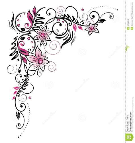 flower border tattoo pink border stock photos image 37568313