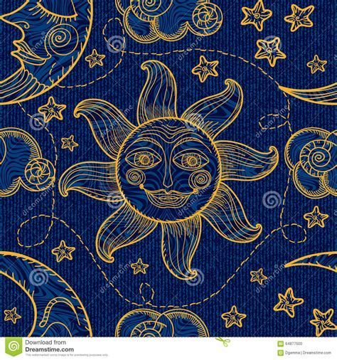 pattern moon drawing seamless pattern with sun moon and clouds stock vector