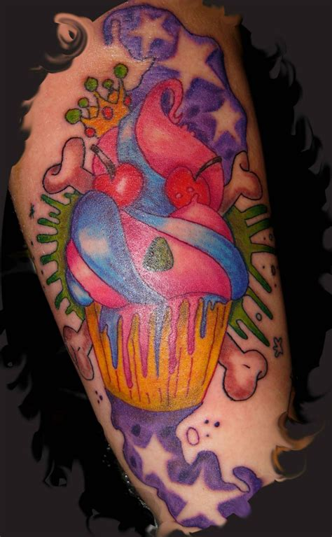tattoo cake colored ink cup cake on half sleeve tattooshunt