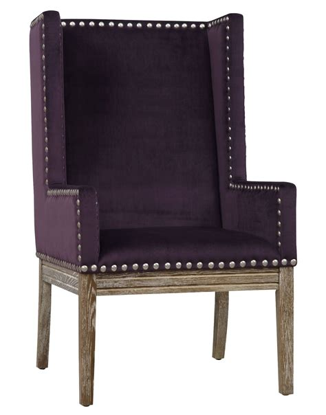purple velvet armchair tribeca purple velvet chair from tov tri purple