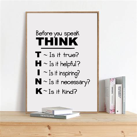 Poster Our Hiasan Dinding motivational quote canvas print poster think before you speak quote canvas painting poster