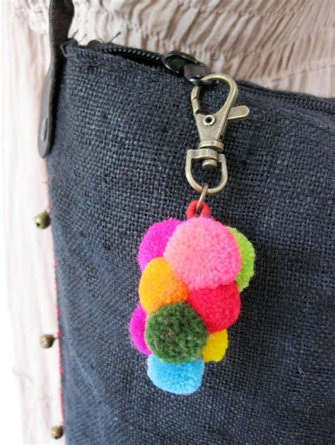 Handmade Pom Poms - key chain bag accessories colorful grapes pom poms