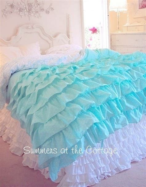 teal ruffle bedding shabby cottage chic layers of dreamy aqua teal ruffles