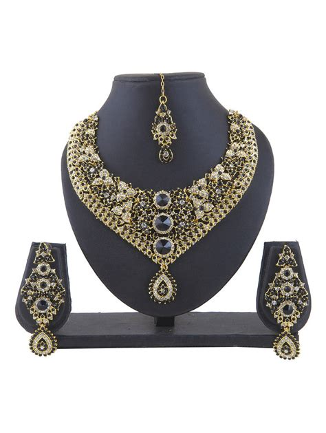 Kalung Set India Ns 32 buy black polki necklace sets