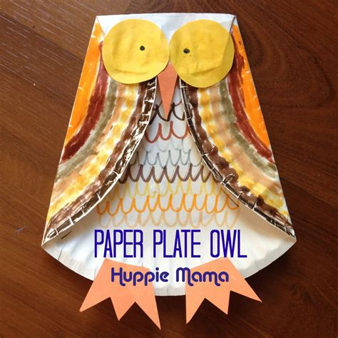 Paper Craft Owl - do it yourself fall crafts paper plate owls and apple