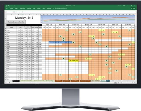 Powerful Excel Based Scheduler For Call Center Agent Schedules Spreadsheet Scheduler Shopify Excel Template