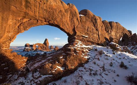 landscape rock formation arch snow utah wallpapers hd