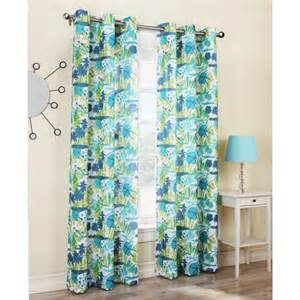 Walmart Draperies Curtains Riptide Beach Print Woven Grommet Curtain Turquoise
