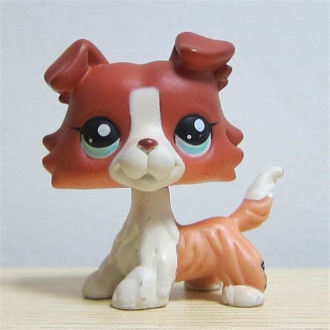 lps dogs littlest pet shop brown collie puppy blue figure lps 1542 ebay