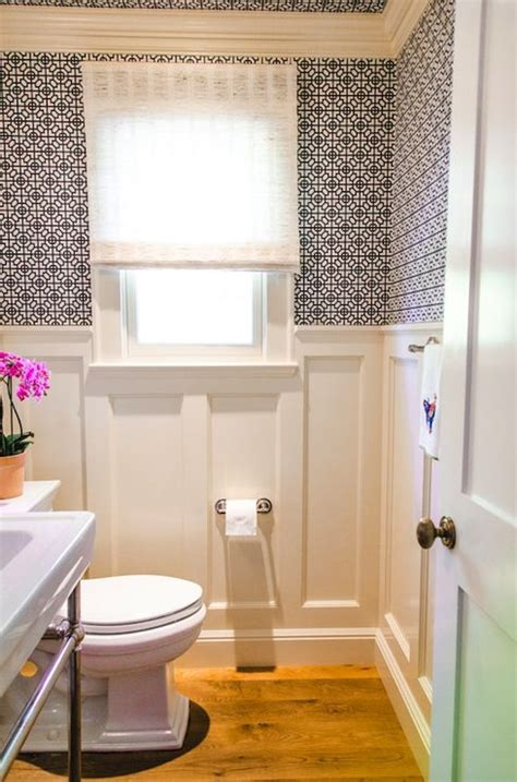 wainscoting bathroom walls source evars and anderson lovely powder room with white