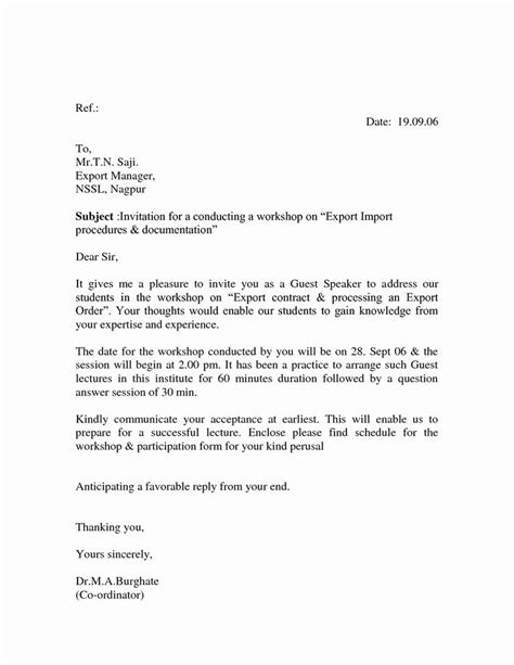 Guest Speaker Invitation Letter Template Awesome Best S Of