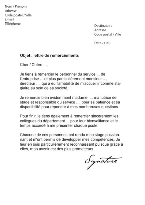 Exemple De Lettre De Remerciement Pour Rapport De Stage Gratuit Lettre De Remerciement Rapport De Stage Mod 232 Le De Lettre