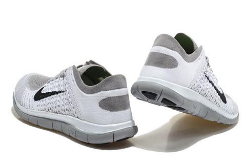 nike free 4 0 flyknit mens running shoes white grey black
